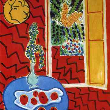 red-interior-still-life-on-a-blue-table-1947