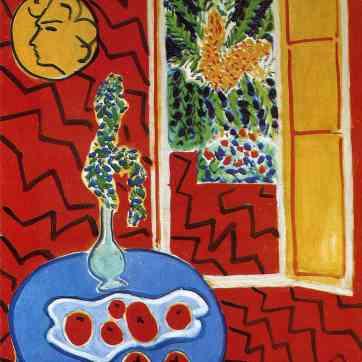 red-interior-still-life-on-a-blue-table-1947